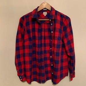 J. Crew red and blue Boy Fit Flannel shirt